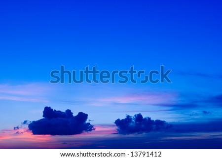 Beautiful Blue Sunset or Sunrise Cloudscape - stock photo