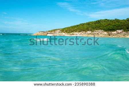 Beautiful blue water,white sand,idyllic,tropical beach in Santa Maria key, Cuba - stock photo