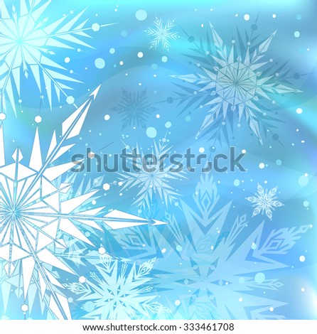 Beautiful blue winter background with snowflakes - stock photo
