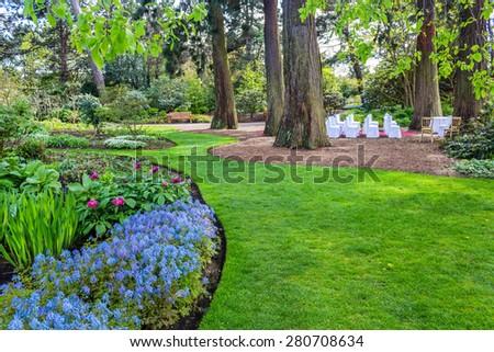 Beautiful, botanic garden in Spring. Wedding settings in botanic garden, Spring time.  - stock photo