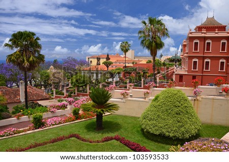 Beautiful botanical garden in La Orotava, Tenerife, Canary Islands