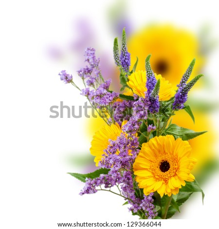Beautiful bouquet, composition of yellow gerbera with violet flowers over white background with copy space - stock photo