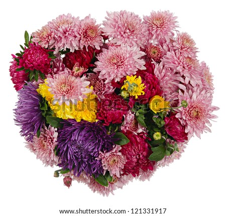 Beautiful bouquet of autumn flowers in the form of the heart, isolated on a white background