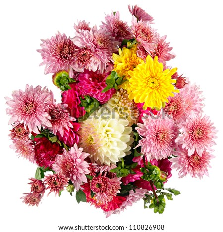 Beautiful bouquet of autumn flowers isolated on white