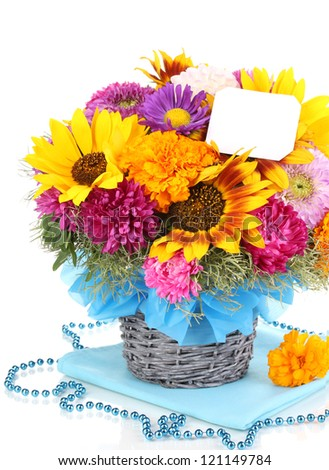 Beautiful bouquet of bright flowers with paper note isolated on white