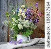 Beautiful bouquet of bright wildflowers - stock photo