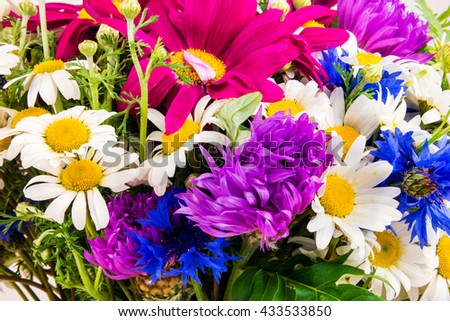 Beautiful bouquet of bright wildflowers. Bouquet of summer wildflowers. - stock photo