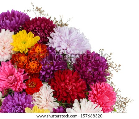 Beautiful bouquet of chrysanthemums isolated on white