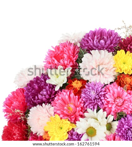 Beautiful bouquet of chrysanthemums isolated on white - stock photo
