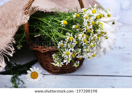 Beautiful bouquet of daisies in wicker basket on wooden background