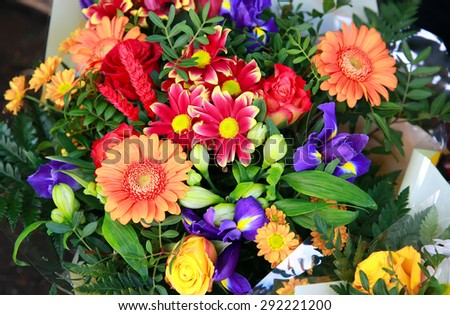 Beautiful bouquet of flowers in the shop - stock photo