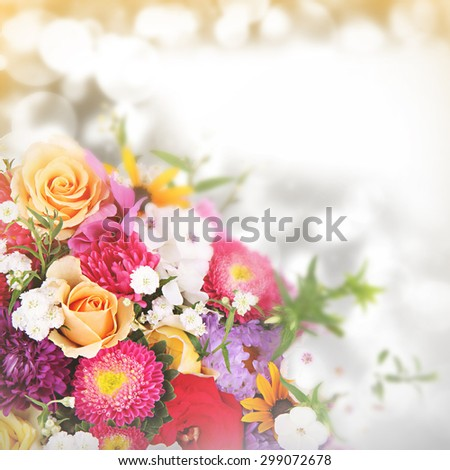Beautiful bouquet of flowers on bright background