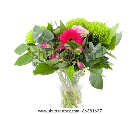 beautiful bouquet of flowers over white background