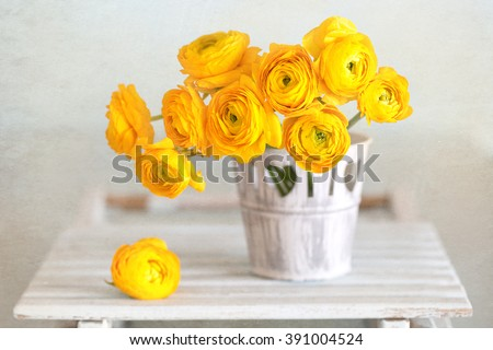 Beautiful bouquet of flowers.Yellow ranunculus flowers close-up in a vase on the table. - stock photo