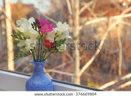 Beautiful bouquet of freesia in blue vase  on window background - stock photo