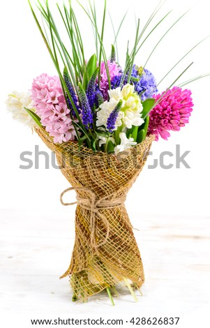 beautiful bouquet of hyacinths in a rustic style