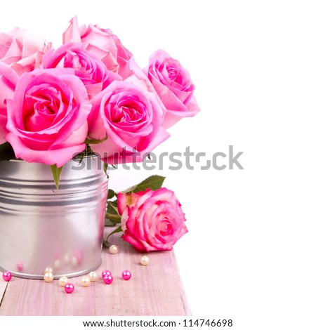 beautiful pink roses hydrangea basket stock photo, Beautiful flower