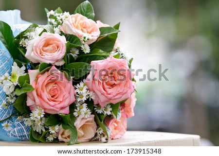 beautiful  bouquet of pink roses before wedding - stock photo