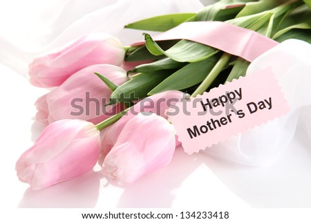 Beautiful bouquet of pink tulips for Mother's Day, isolated on white - stock photo