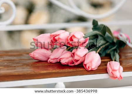 beautiful bouquet of pink tulips, Mother's Day, 8 March - stock photo
