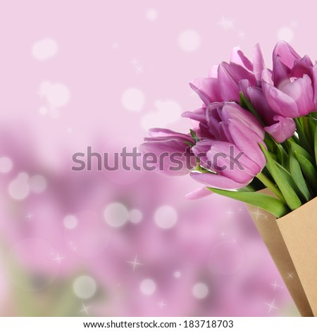Beautiful bouquet of purple tulips in paper bag on bright background