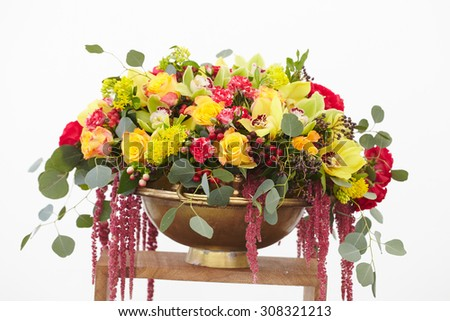 beautiful bouquet of red, yellow, white flowers