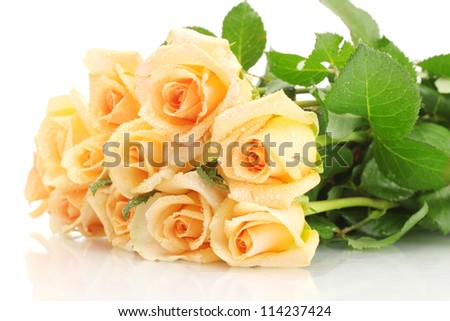 beautiful bouquet of roses isolated on white - stock photo