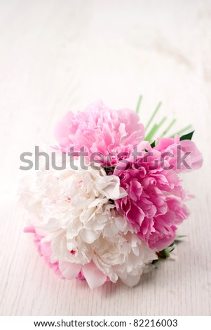 Beautiful bouquet of spring flowers - peonies - stock photo