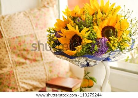 Beautiful bouquet of sunflowers - stock photo
