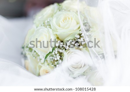 beautiful bouquet of the bride, light beige roses