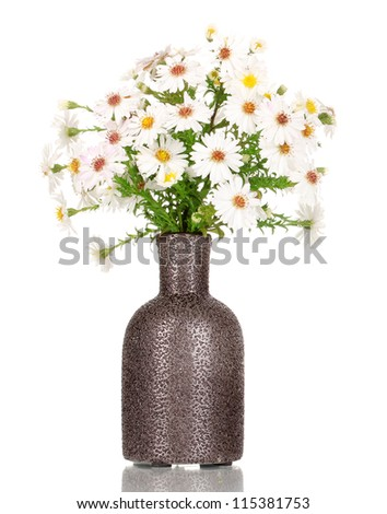 beautiful bouquet of white flowers in vase isolated on white