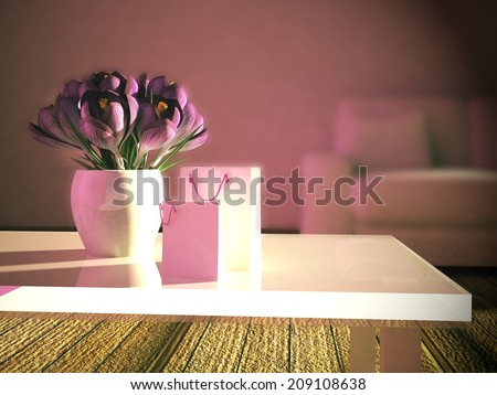 beautiful bouquet on the table near  the sofa
