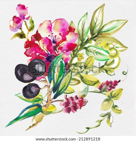 """Beautiful bouquet. Red and pink water color flowers and olive branch. Album  """"Bouquet of flowers."""" - stock photo"""