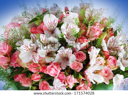 Beautiful bouquet rose and alstroemeria.  - stock photo