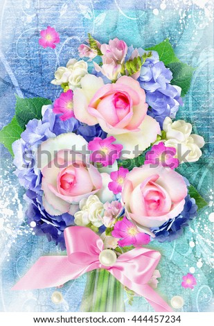 Beautiful bouquet with blooming hydrangea and rose flowers on grunge background. Can be used as greeting card, invitation card for wedding, birthday and other holiday. - stock photo