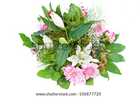 beautiful bouquet with flowers in pink and white - stock photo