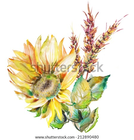 """Beautiful bouquet. Yellow sunflower and ears. Album """"Bouquet of flowers."""" """"Autumn fall""""."""" Sunflower."""" - stock photo"""