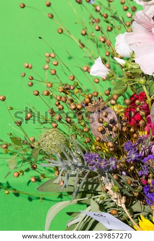beautiful bouquets of flowers and herbs  - stock photo