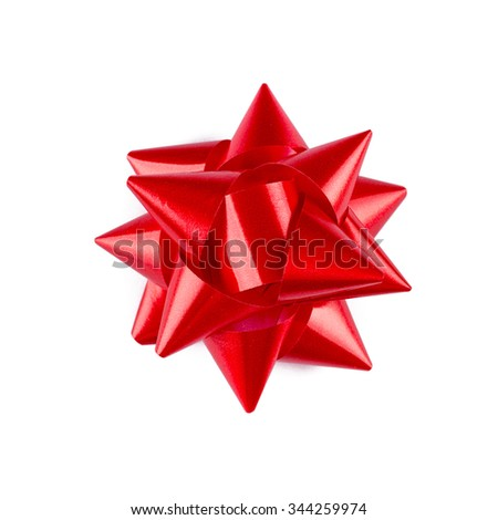 Beautiful bow, red bow, bow satin, bow isolated on white background, bow star, bow silk, bow decor, bow design, gift bow, present bow - stock photo