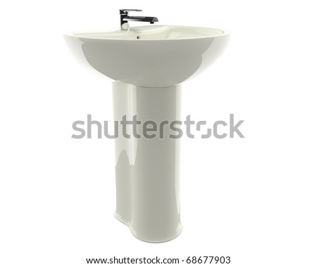 beautiful bowl with a tap nicely illuminated and isolated on white background - stock photo