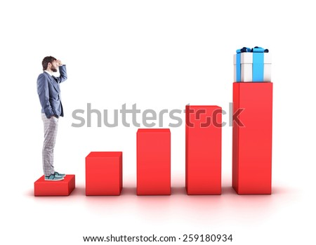 Beautiful boy stand on diagramme and looks ahead - stock photo