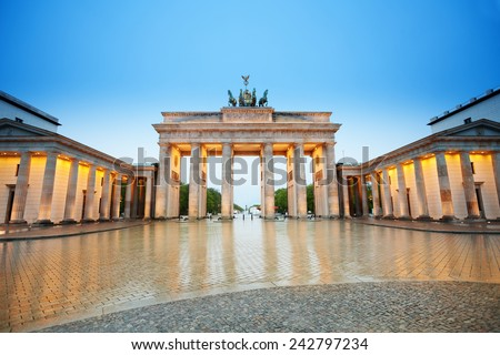 Beautiful Branderburger Tor view at night, Berlin - stock photo