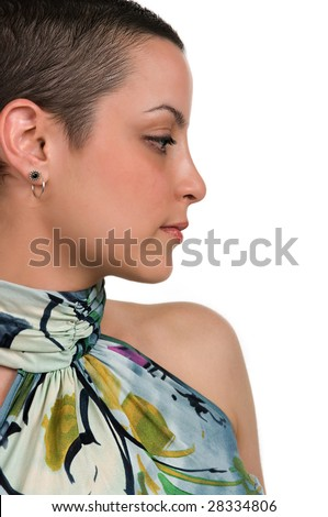 Beautiful breast cancer survivor ( 2 months after chemo) - stock photo