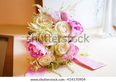 Beautiful bridal bouquet of pink and white flowers