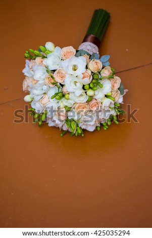 beautiful bridal bouquet of roses close up.