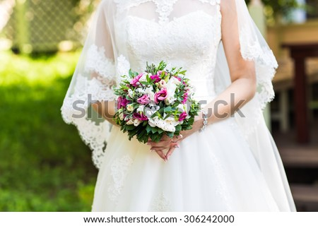 Beautiful Bridal bouquet of various flowers. Wedding day