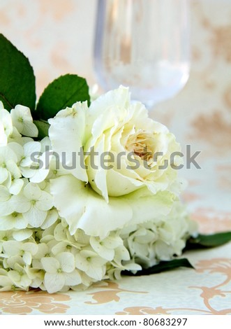 beautiful bridal bouquet of white roses on a vintage background