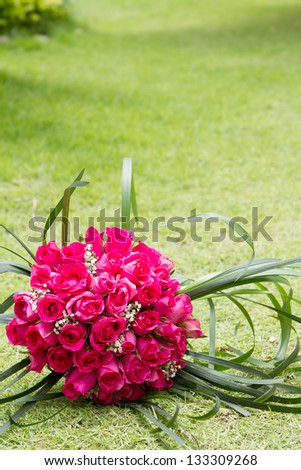 beautiful bridal bouquet on natural background - stock photo