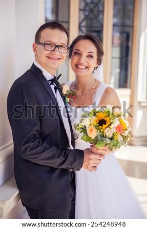 Beautiful bride and groom - stock photo