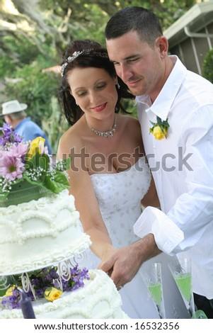 beautiful bride and groom cutting cake - stock photo